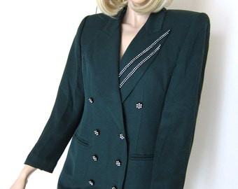 80s Avant Garde Jacket Forest Green - Tailored Vintage - Dark Evergreen - Criscione New York - Pine Evergreen - S to XS