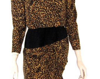 80s Leopard Print Silk Dress - Vintage 1980s Animal Print - Hip Swag - Small Petite S 4