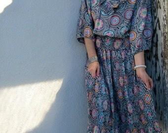 80s Susan Freis Blouse & Midi Skirt Vintage Set - I. Magnin - Gypsy Boho Outfit - Pleated Peasant - Small