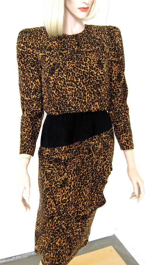80s Leopard Print Silk Dress - Vintage 1980s Animal Print - Hip Swag - Small Petite S 4