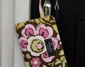 Deco Rose Padded wristlet mini purse, iphone, ipod, cell phone, camera bag