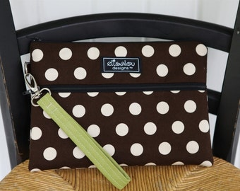 Padded Kindle iPad Mini Nook eReader Bag Pouch- Brown Dot