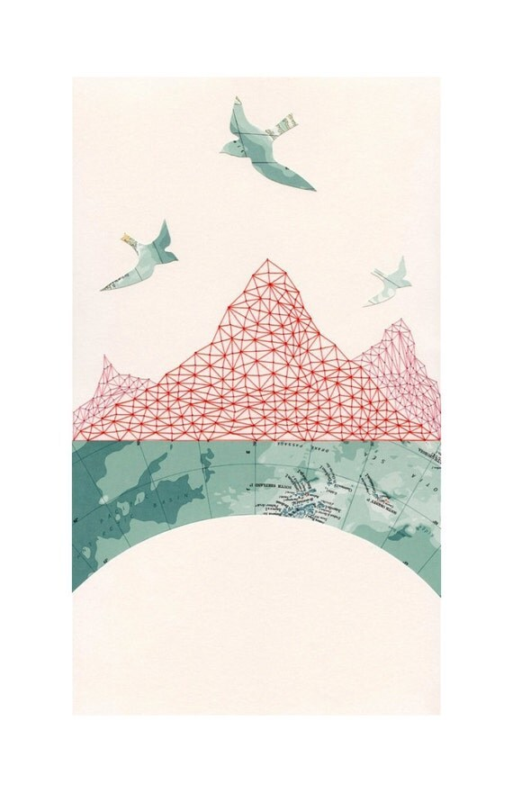 ARCHIVAL PRINT Passage / map art collage cartography travel birds mountains antarctic pattern embroidery geometry red thread