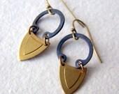 Geometric Earrings - brass earrings - industrial - Rustic Jewelry - bohemian jewelry