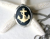 Nautical Anchor Necklace - black with ivory anchor cameo - anchor brooch - anchor necklace - Nautical - Anchor Jewelry - Summer Fashion