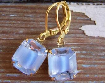 Cornflower Blue Earrings - periwinkle blue vintage givre glass drops - vintage glass earrings - brass earwires - glass cab earrings