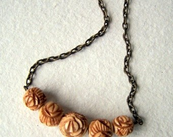 Rose Necklace - vintage carved tea dyed bone rose beads - FREE GIFT WRAP