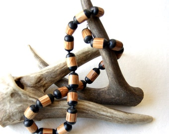 Hand-Knotted Necklace - Knotted Necklace - black horn, palmwood , waxed cotton - wood necklace - boho chic - bohemian jewelry