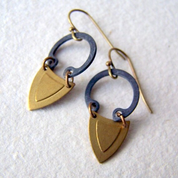 Geometric Earrings - brass earrings - industrial - Rustic Jewelry - bohemian jewelry