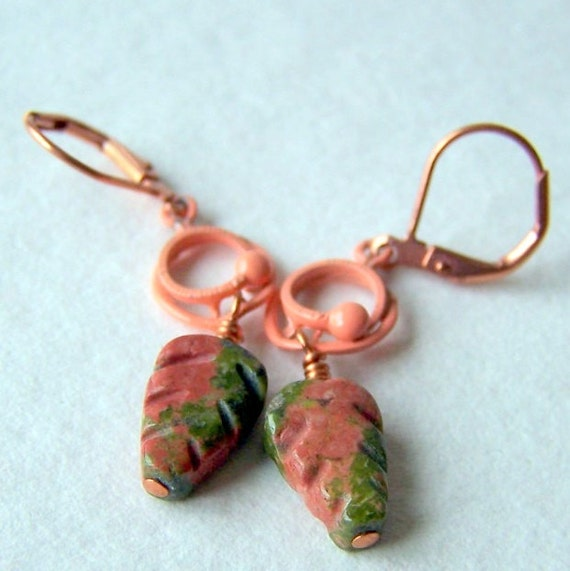 Unakite Leaf Earrings, Autumn Fashion - nature-inspired jewelry - garden inspired - Leaf Jewelry - botanical jewelry