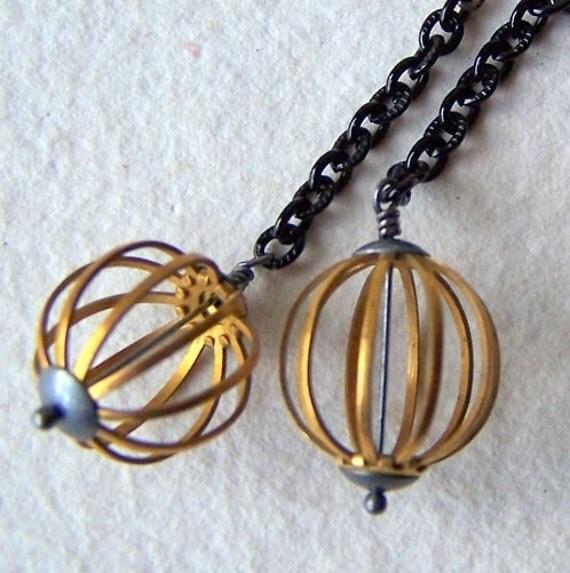 Brass Cage Earrings - Dangle Earrings - vintage cage beads - vintage black enamel chain - modern - Brass Jewelry - bohemian jewelry