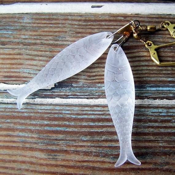 Smoked Fish Earrings - vintage matte crystal plastic fish - brass swivel snaps - Nautical Fashion - Summer Fashion