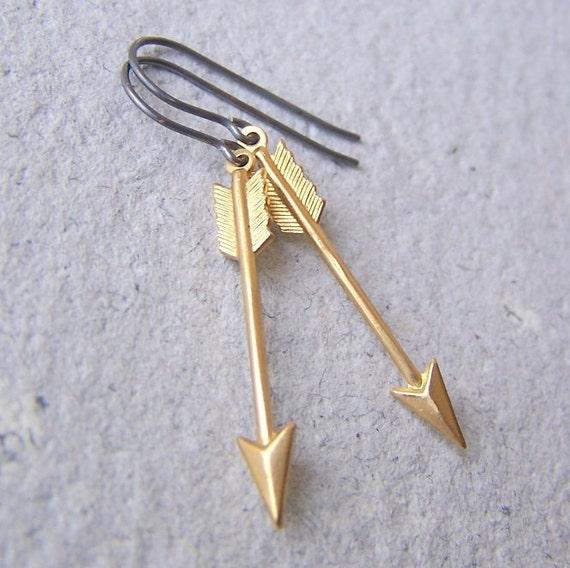 Brass Arrow Earrings - sterling silver earwires - woodland - Minimalist Arrow Earrings - Arrow Jewelry - Sagittarius - boho chic