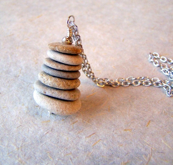 Cairn Necklace - beach stone necklace - stainless steel chain - Cairn Jewelry -  Beach Pebble Necklace  - Zen - spiritual - bohemian jewelry