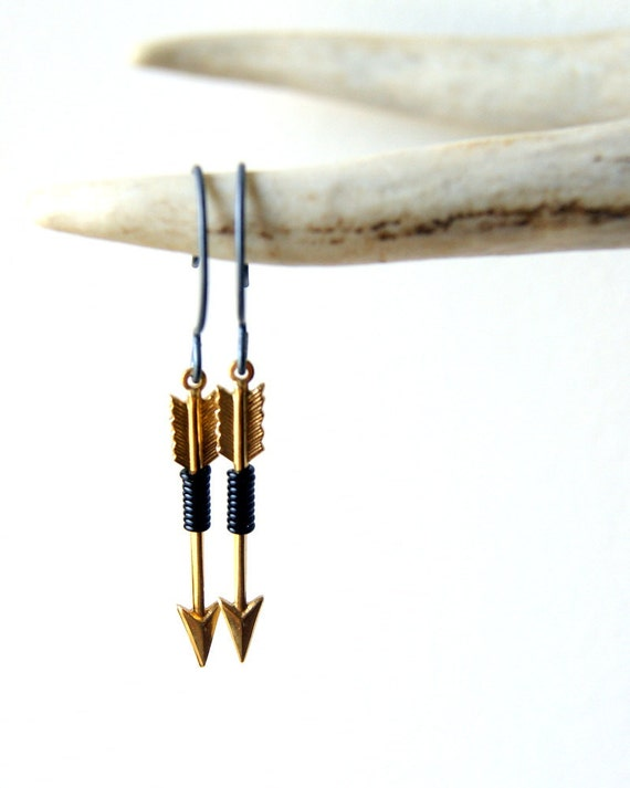 Brass Arrow Earrings - black wire wrapped arrow earrings - archery - arrow earrings -  Arrow Jewelry - Sagittarius - boho chic