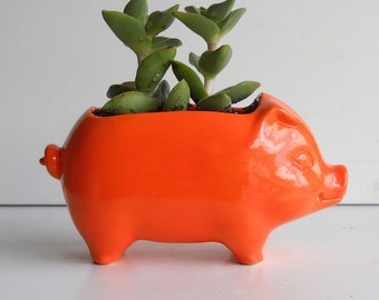 Pig Planter Ceramic 60s Mini Desk Pig Planter Vintage Design in Orange Succulent Planter Cactus Pot Kitchen Decor