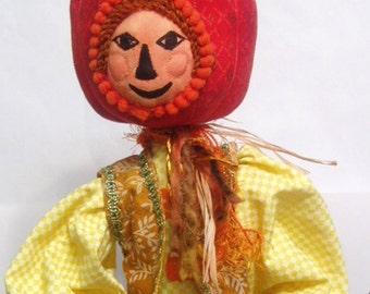 E- Pattern- HALLOWEEN DOLL, Jack O Pumpkin, Cloth doll, Tutorial, Bambole, textiles, Instructional, michelledolls, DIY, Art Doll, Home Decor