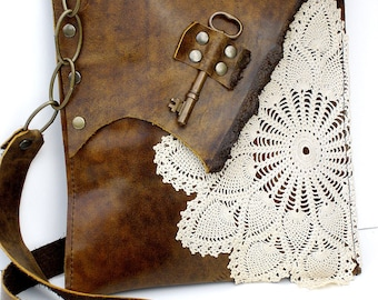 Original Boho Leather Messenger Bag with Crochet Doily and Antique Key - Medium - Made To Order