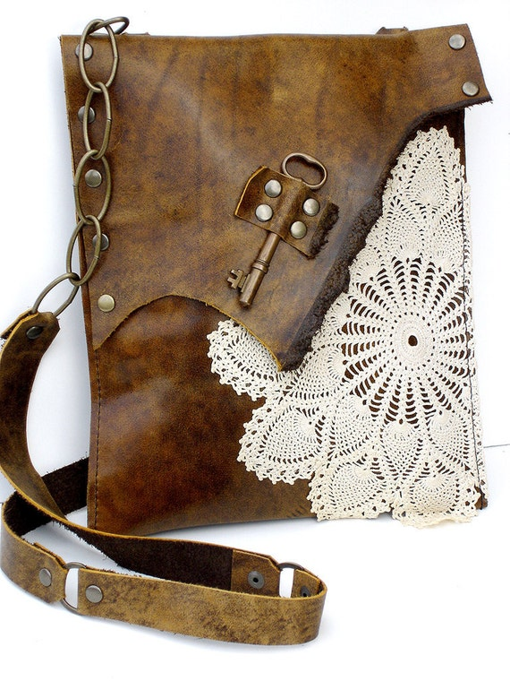 CUSTOM for LAUREN R - Boho Leather Messenger Bag with Crochet Doily and Antique Key - Medium Size - One Of A Kind