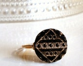 Black Glass Vintage Button Ring with Art Deco Gold Gilt Pattern Wire-Wrapped with Gold Wire
