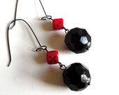 Black Disco Balls with Red Dice Earrings - Faceted Black Glass with Deep Red Glass Dice - Long Gun Metal Earwires