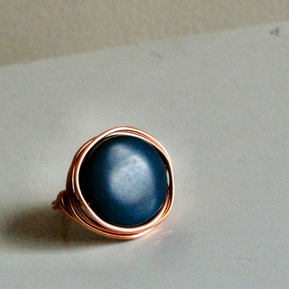 Blueberry Blue Tagua Bead Ring - Dyed Tagua Nut Bead - Wire-Wrapped with Copper Wire - Custom Made in Your Size - Made to Order