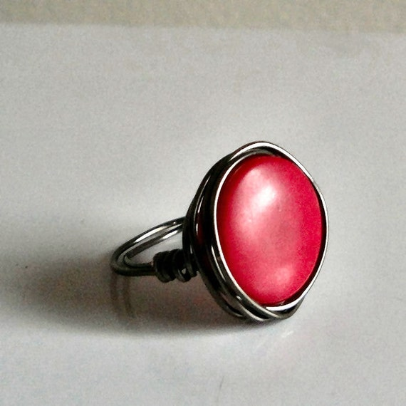 Cherry Red Tagua Bead Ring - Dyed Tagua Nut Disc Bead - Wire-Wrapped with Gun Metal Silver Wire - Custom Made in Your Size - Made to Order