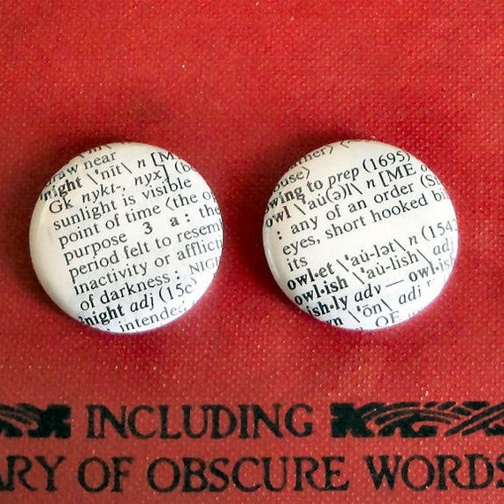 Night Owl - Vintage Dictionary Pins or Magnets