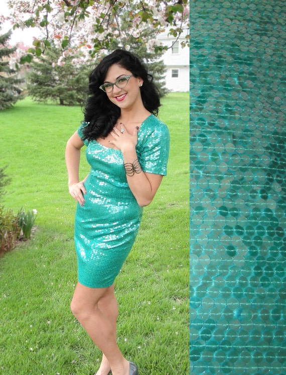 Sea Green Sequin Mini Dress - Vintage 80's Evening Dress with Short Sleeves, Square Neckline, Mini Skirt and Sexy Fitted Shape