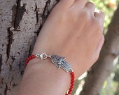 Hamsa Sterling Silver Good Fortune Bracelet With Charms Hamsa Dangles On Red Coral Beads OOAK Handcrafted