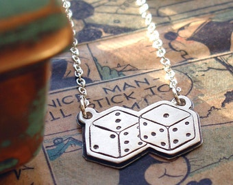 Lucky Dice Pendant In Sterling Silver With Chain Lucky Numbers Artist Made OOAK