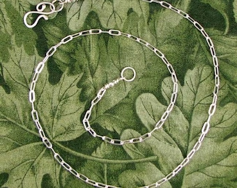 Sterling Drawn Cable Chain with Handcrafted S Clasp