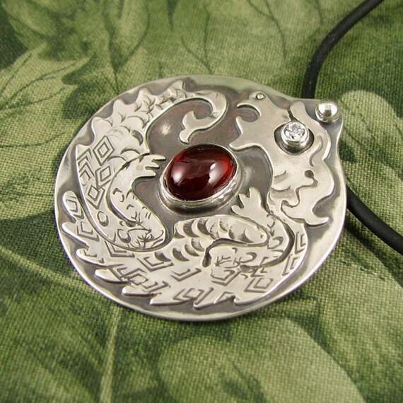 Dragon with Garnet sterling pendant