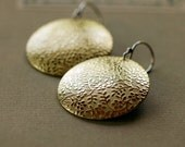 Floral Mixed Metal Earrings Patterend Brass Sterling Silver Earwires Large Circle Disk Handmade Jewelry