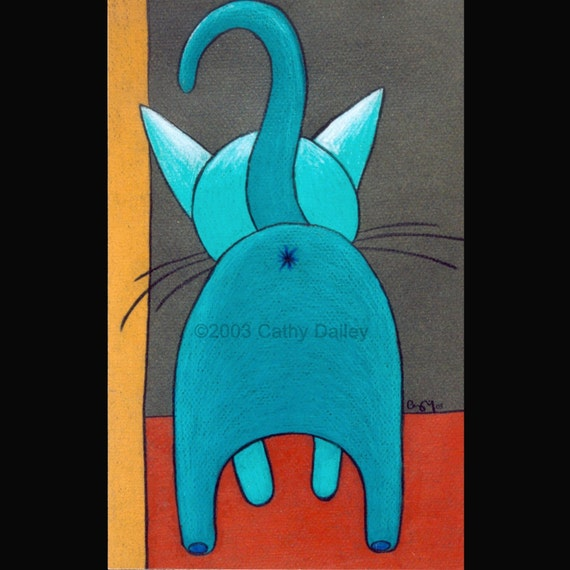 """8 X 10 custom matted and signed """"Kitty Butt"""" print"""