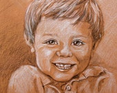 Custom Childrens portrait from photo - art custom kids portrait - 2 color drawing by portrait artist Robin Zebley - 11 x 14