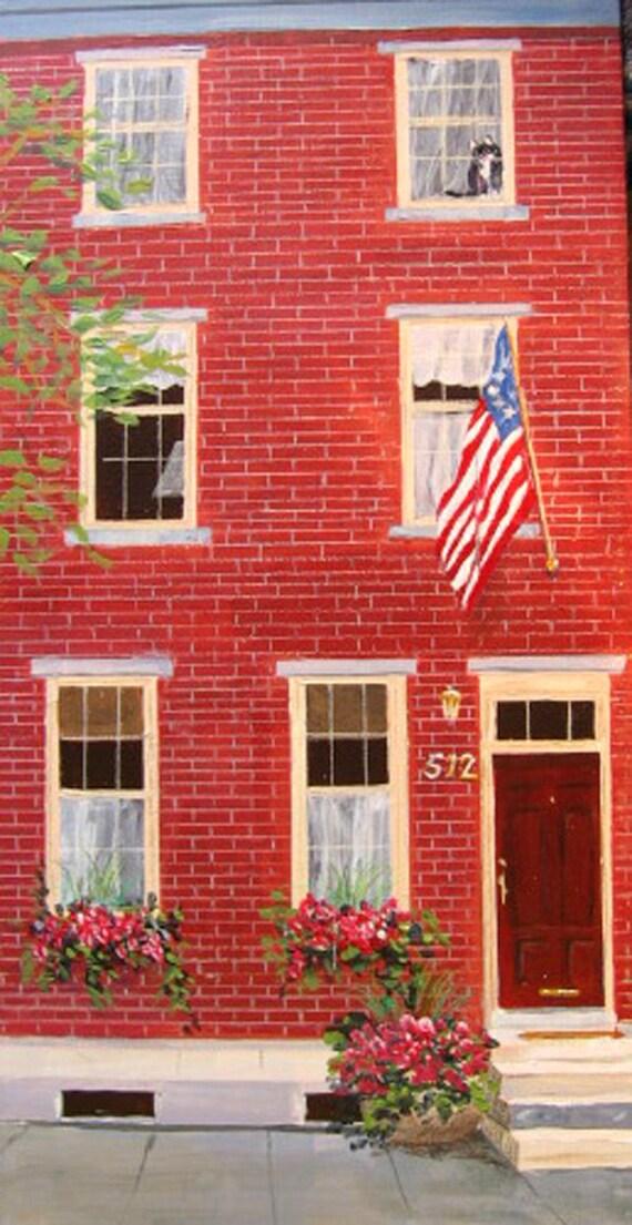 Custom House portrait, oil painting on canvas
