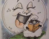 Sheep, Moon, Comedian, ORIGINAL drawing, animal illustration, hand drawn, small format art, blank note card, humor