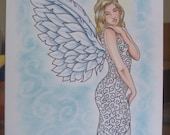 Angel, ORIGINAL, Drawing, Hand Drawn Note Card, Blank card, Thinking Of You, Friendship Card, Ready To Frame
