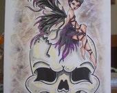 Goth Fairy drawing, ORIGINAL art,  hand drawn art, small format art, blank note card, fantasy art, black and purple