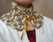 Laced Neckwarmer - sparkly green, yellow, brown, gold - Princess and the Pea SALE