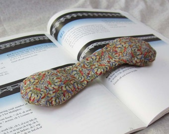 Multicolor Book Weight - CLEARANCE SALE Red, Blue, Yellow Flowers art nouveau page holder, fabric and glass book snake office accessory
