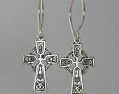 Celtic Cross lite earrings, Sterling Silver