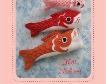 felt embroidered Koinobori fish flag Party Decor PDF sewing pattern felt animal patterns ornaments