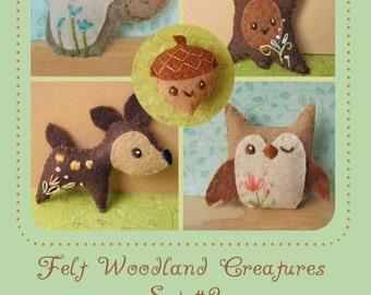 Mini Felt Woodland Creatures plush Set 2 PDF sewing pattern felt animal patterns ornaments