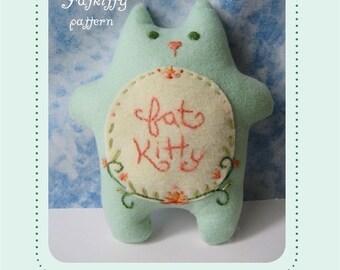felt embroidered FATKITTY plush PDF pattern