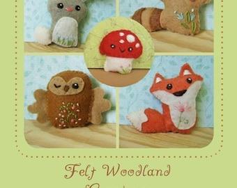 Mini Felt Woodland Creatures plush Set 1 PDF sewing pattern felt animal patterns ornaments