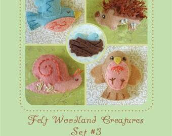 Mini Felt Woodland Creatures plush Set 3 PDF sewing pattern felt animal patterns ornaments