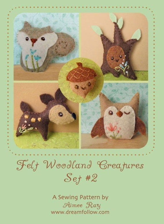 Mini Felt Woodland Creatures plush Set 2 PDF sewing pattern felt animal patterns ornaments