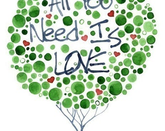 Watercolour Tree All You Need Is Love Print Romantic Wall Art Inspirational Decor